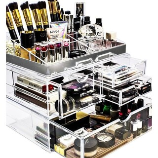 Sorbus Acrylic Makeup and Jewelry Storage Case Display with Silver Trim (Silver Set 1)