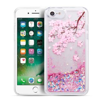 Insten Pink Clear Blossom Quicksand Glitter Hard Snap-on Case for Apple iPhone 6/ 6s/ 7/ 8