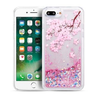 Insten Pink Clear Blossom Quicksand Glitter Hard Snap-on Case Cover For Apple iPhone 6 Plus/ 6s Plus/ 7 Plus