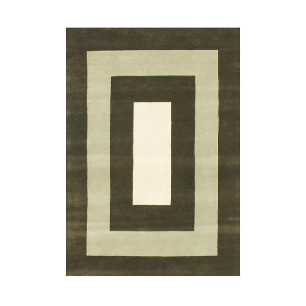 Alliyah White/ Green New Zealand Wool Area Rug