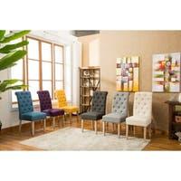 Habit Solid Wood Tufted Parsons Dining Chair (Set of 2) in Tan (As Is Item)