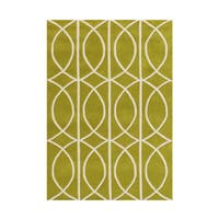 Alliyah Circle Apple Green Wool Area Rug