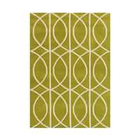 Alliyah Circle Apple Green Wool Area Rug - 8' x 10'