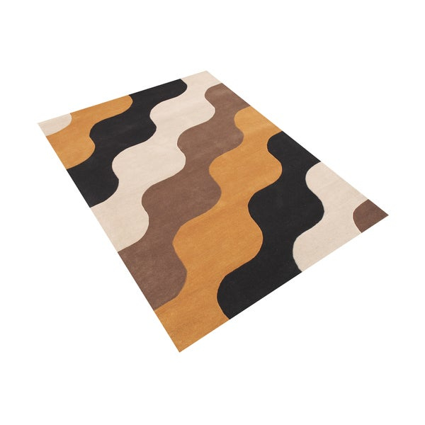 Alliyah Wave Black/ Taupe Wool Hand-carved Area Rug - 8' x 10'
