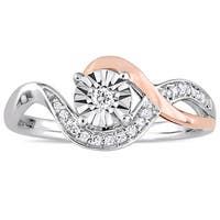 Miadora 2-Tone 10k White and Rose Gold 1/10ct TDW Diamond Crossover Infinity Engagement Ring