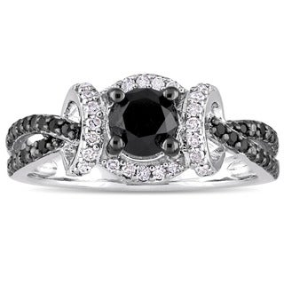 Miadora Sterling Silver with Black Rhodium 1ct TDW Black & White Diamond Infinity Split Shank Engage