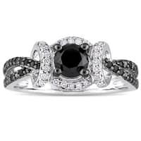 Miadora Sterling Silver with Black Rhodium 1ct TDW Black & White Diamond Infinity Split Shank Engage