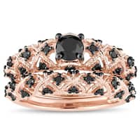 Miadora Rose Gold Plated Sterling Silver 1Ct TDW Black Diamond Infinity Bridal Set