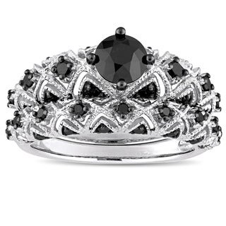 Miadora Signature Collection 10k White Gold Plated with Black Rhodium 1 1/4ct TDW Black Diamond Infi