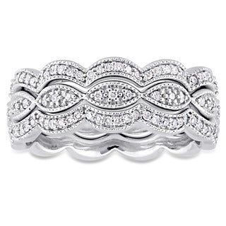 Miadora Signature Collection 14k White Gold 1 2ct TDW Diamond Infinity Stackable 3 Piece Ring Set