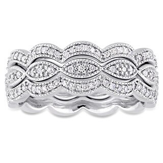 Miadora Signature Collection 14k White Gold 1/2ct TDW Diamond Infinity Stackable 3-Piece Ring Set