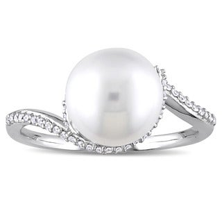Miadora Signature Collection 10k White Gold Cultured Freshwater Pearl and 1/6ct TDW Diamond Bypass R