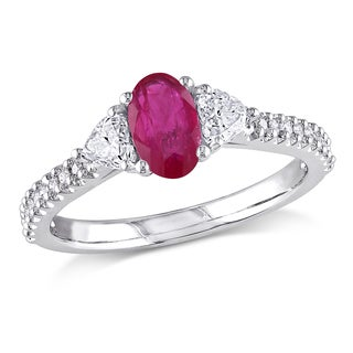 Miadora Signature Collection 14k White Gold Ruby and 1/2ct TDW Diamond 3-Stone Engagement Ring