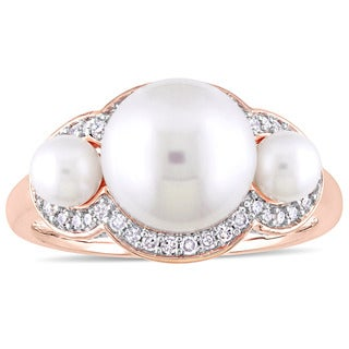 Miadora 10k Rose Gold Cultured Freshwater Pearl and 1/5ct TDW Diamond 3-Stone Halo Ring - White