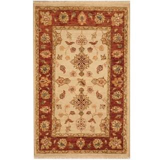 Handmade Herat Oriental Afghan Vegetable Dye Oushak Wool Rug (Afghanistan) - 2' x 3'1