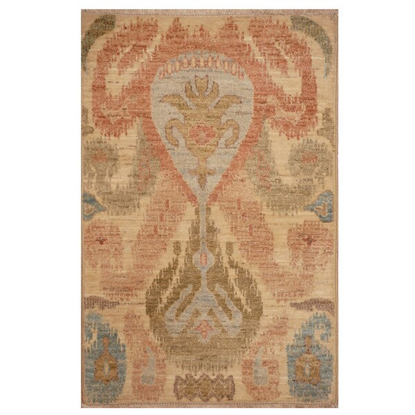 Herat Oriental Afghan Hand-knotted Vegetable Dye Ikat Wool Rug (2' x 3'1)