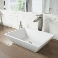 VIGO Vinca White Matte Stone Vessel Bathroom Sink