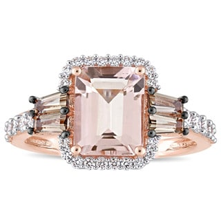 Miadora Signature Collection 14k Rose Gold Morganite Smokey Quartz and 3/8ct TDW Diamond Halo Engagement Ring
