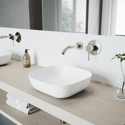 VIGO Camellia White Matte Stone Vessel Bathroom Sink