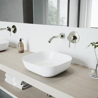 VIGO Camellia White Matte Stone Vessel Bathroom Sink