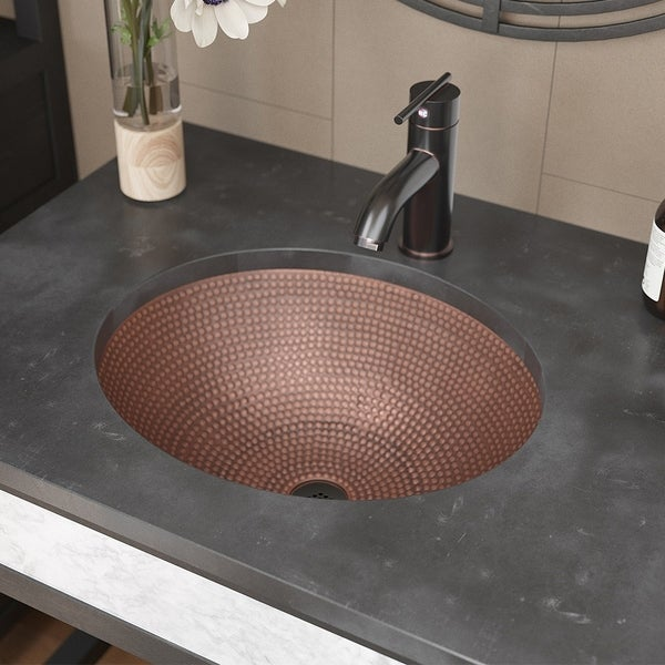 R4-4002 Oval Single Bowl Copper Sink with Grid Drain