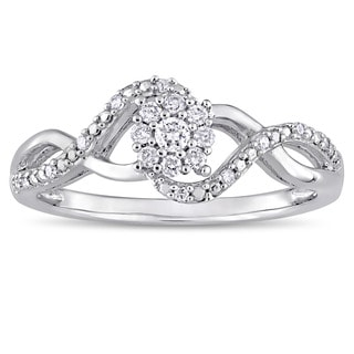 Miadora Signature Collection 10k White Gold 1/6ct TDW Diamond Interlaced Infinity Ring