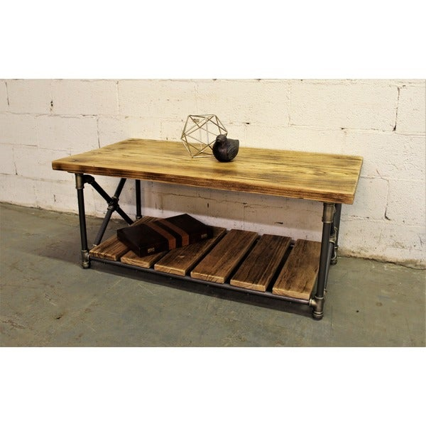 Charming Houston Industrial Vintage Metal And Reclaimed Aged Wood Finish Rectangle  Pipe Coffee Table