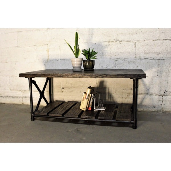 Houston Industrial Metal With Reclaimed Aged Wood Finish Vintage Rectangle Pipe  Coffee Table