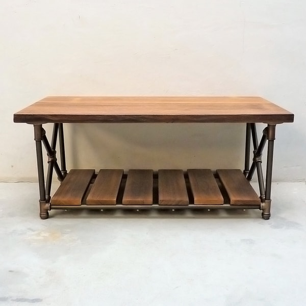 Bon Houston Industrial Metal With Reclaimed Aged Wood Finish Vintage Rectangle  Pipe Coffee Table