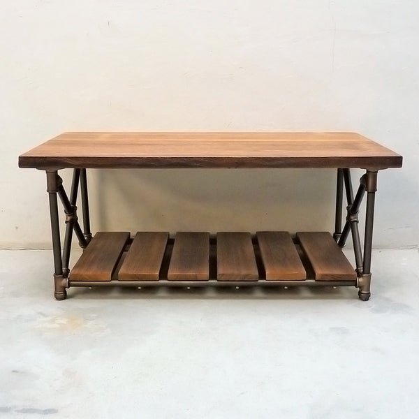 Beau Houston Industrial Metal With Reclaimed Aged Wood Finish Vintage Rectangle  Pipe Coffee Table