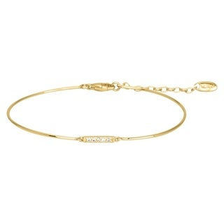 Gold Plated Bracelet with Cubic Zirconia - Size 6.5 - Yellow