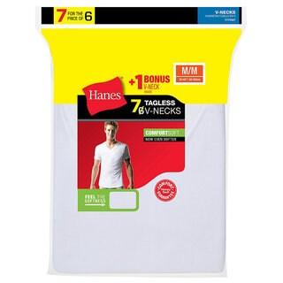 Hanes Men's TAGLESS V-Neck Undershirt 7-Pack (Includes 1 Free Bonus V-Neck) (4 options available)