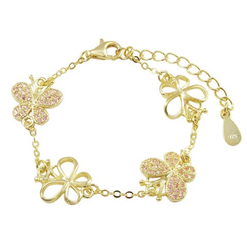 Luxiro Gold Finish Sterling Silver Pink Cubic Zirconia Butterfly Children's Bracelet