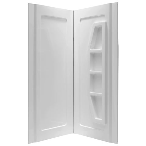 Anzzi Gradient White 2-piece Direct-to-Stud Corner Shower Wall