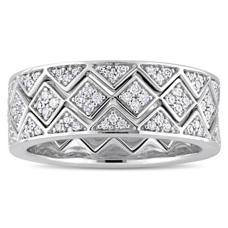 Miadora Signature Collection 14k White Gold 5/8ct TDW Diamond Stackable Zig-Zag 3-Piece Ring Set