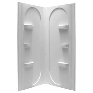 Anzzi Studio White 2-piece Direct-to-Stud Corner Shower Wall