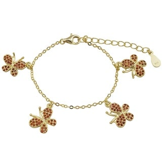 Luxiro Gold Finish Sterling Silver Red Cubic Zirconia Butterfly Children's Bracelet (2 options available)
