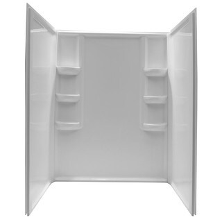 Anzzi Lex-Class White 3-piece Direct-to-Stud Alcove Shower Wall