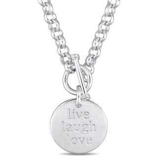 Miadora Sterling Silver 'Live-Laugh-Love' Inspirational Charm Necklace