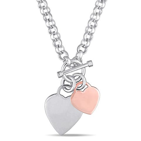 Miadora 2-Tone White and Rose Plated Sterling Silver Double Heart Charm Necklace