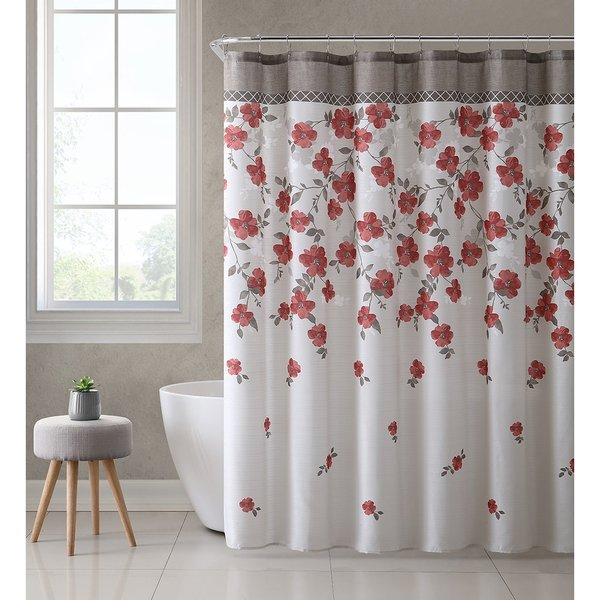Ruthy's Textile Floral Design 72-inch Shower Bath Curtain