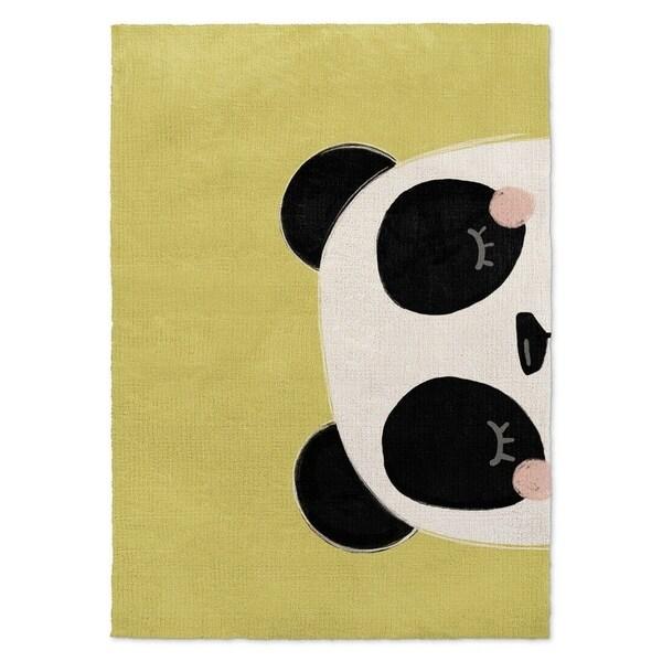 Kavka Designs Panda Green/ Black/ White Accent Rug (2' X 3') - 2' x 3'