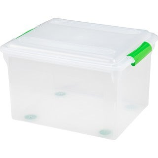 IRIS 34 Quart Store And Slide File Box- Green Handle, 4 Pack, Clear