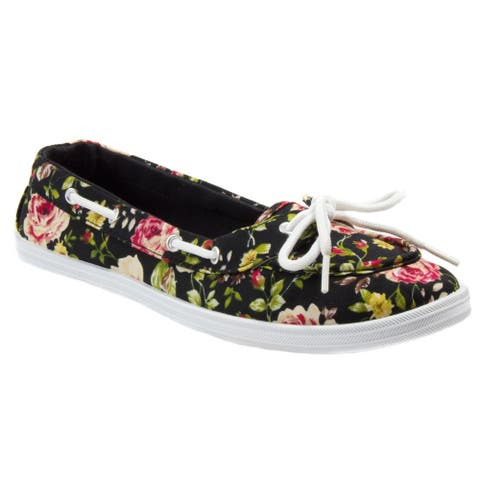 Blue Womens BOATY-FLEUR-H Floral Print Boat Shoe. Black Size 5