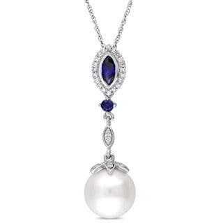 Miadora 10k White Gold Cultured Freshwater Pearl Created Sapphire & 1/7ct TDW Diamond Halo Marquise Necklace (10-10.5 mm)