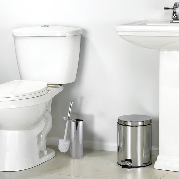 Home Basics Polished Stainless Steel Toilet Brush with Holder and Canister Stand
