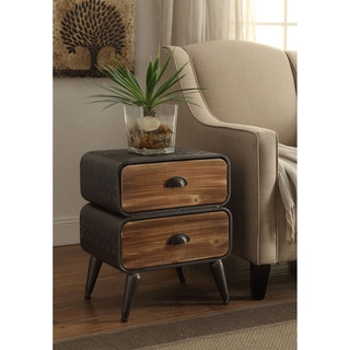 Urban Loft Rounded 2- Drawer Wooden Chest
