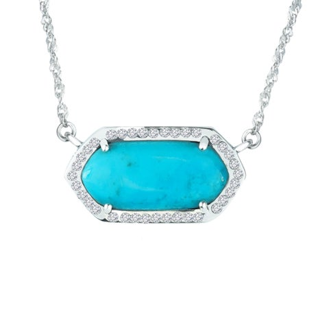Sterling Silver necklace with Arizona Stabilized Turquoise and Crystals