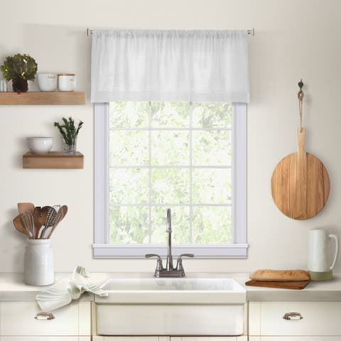 "Elrene Cameron Linen Kitchen Window Valance - 60"" w x 15"" l"