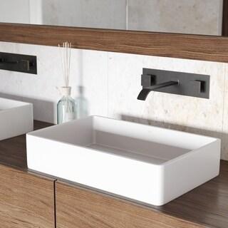 VIGO Magnolia White Matte Stone Vessel Bathroom Sink